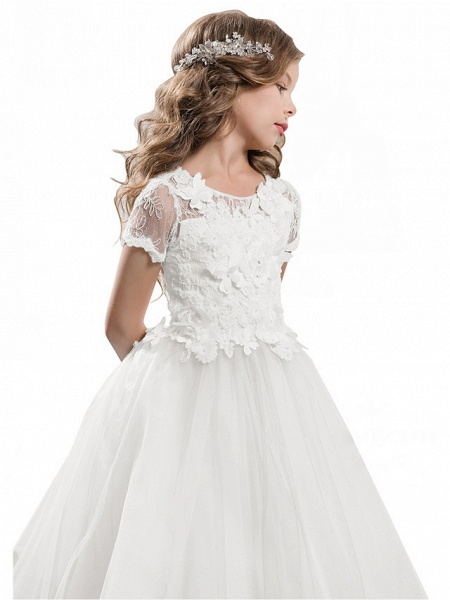 Ball Gown Sweep / Brush Train Wedding / Birthday / Pageant Flower Girl Dresses - Tulle / Cotton Short Sleeve Jewel Neck With Lace / Embroidery / Appliques_11