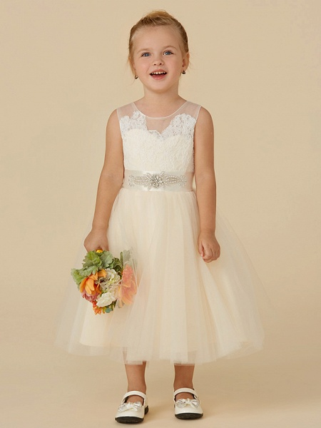 Princess Tea Length Wedding / Birthday / Pageant Flower Girl Dresses - Lace / Tulle Sleeveless Illusion Neck With Sash / Ribbon / Beading / Appliques_1