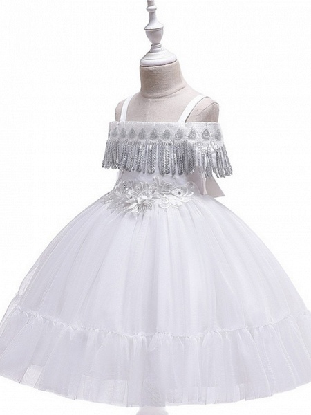 Princess / Ball Gown Knee Length Wedding / Party Flower Girl Dresses - Tulle Short Sleeve Off Shoulder With Bow(S) / Pleats / Beading_8