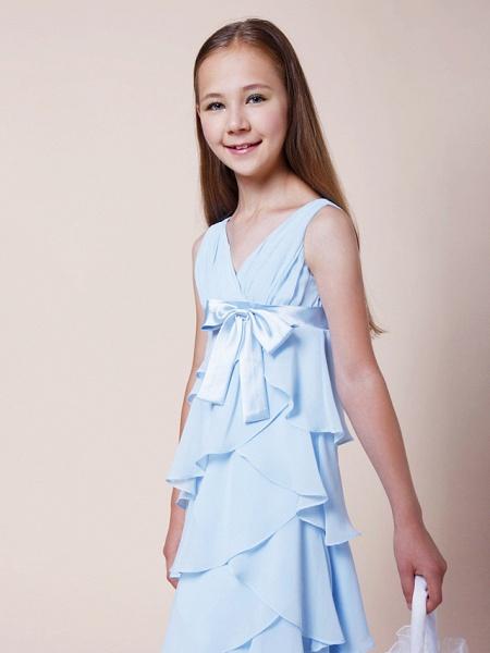 A-Line V Neck Floor Length Chiffon / Stretch Satin Junior Bridesmaid Dress With Bow(S) / Empire / Spring / Summer / Fall / Winter_4