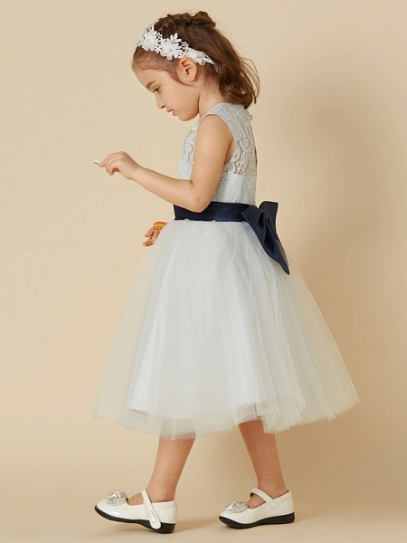 A-Line Knee Length Lace / Tulle Sleeveless Scoop Neck With Sash / Ribbon / Bow(S)_3