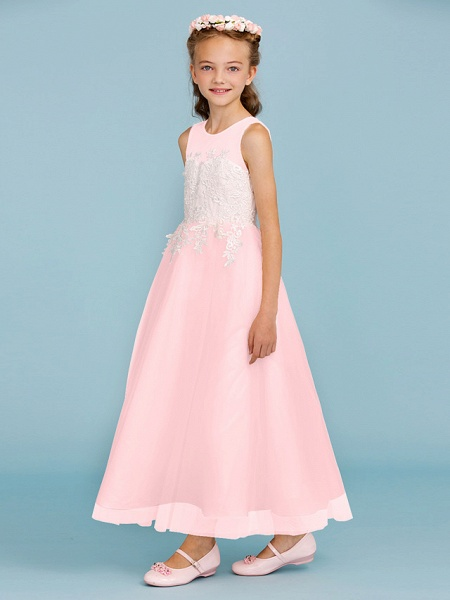 Princess / A-Line Jewel Neck Ankle Length Lace / Tulle Junior Bridesmaid Dress With Sash / Ribbon / Appliques / Wedding Party / Open Back_21