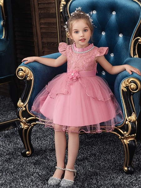 Princess / Ball Gown Knee Length Wedding / Party Flower Girl Dresses - Tulle Cap Sleeve Jewel Neck With Sash / Ribbon / Embroidery / Flower_4