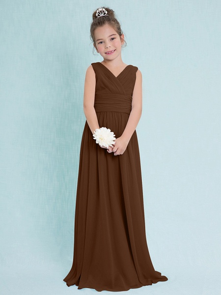 Sheath / Column V Neck Floor Length Chiffon Junior Bridesmaid Dress With Criss Cross / Ruched / Natural_22