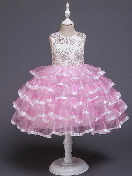 Princess / Ball Gown Knee Length Wedding / Party Flower Girl Dresses - Tulle Sleeveless Jewel Neck With Bow(S) / Tier / Appliques_5