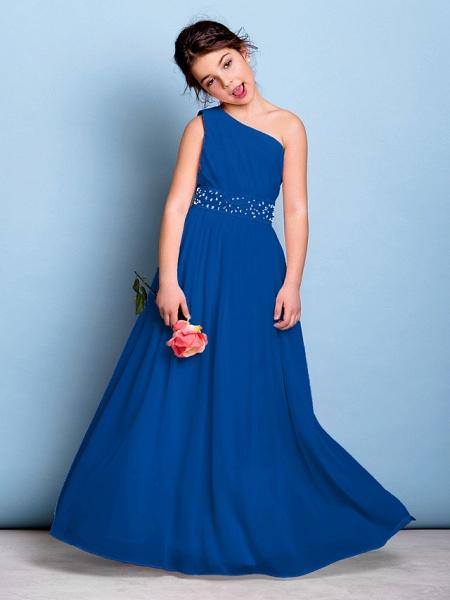 A-Line One Shoulder Floor Length Chiffon Junior Bridesmaid Dress With Sash / Ribbon / Beading / Side Draping / Natural_34