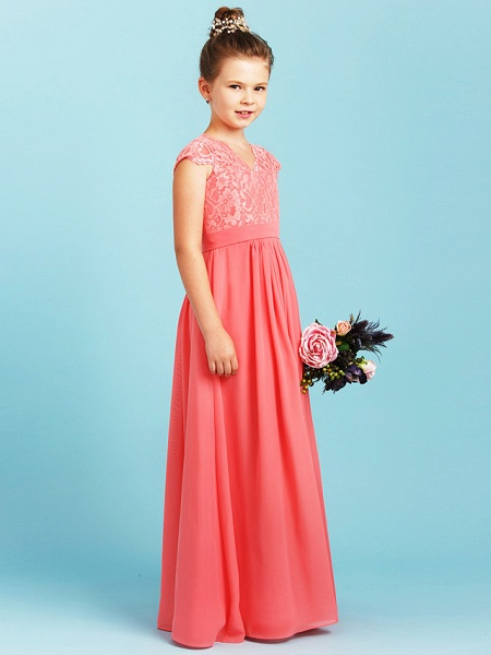 Princess / A-Line V Neck Floor Length Chiffon / Lace Junior Bridesmaid Dress With Sash / Ribbon / Pleats / Wedding Party_3