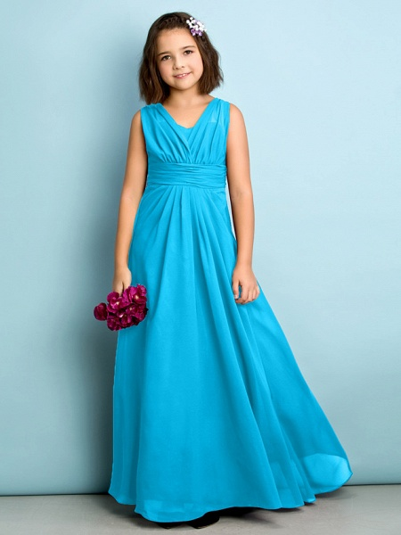 A-Line V Neck Floor Length Chiffon Junior Bridesmaid Dress With Criss Cross / Natural / Mini Me_31