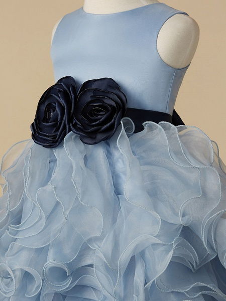 Ball Gown Floor Length Pageant Flower Girl Dresses - Organza / Satin Sleeveless Jewel Neck With Bow(S)_4