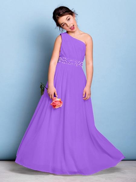 A-Line One Shoulder Floor Length Chiffon Junior Bridesmaid Dress With Sash / Ribbon / Beading / Side Draping / Natural_30