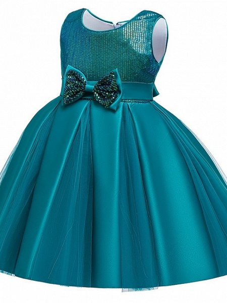 Princess / Ball Gown Knee Length Wedding / Party Flower Girl Dresses - Tulle Sleeveless Jewel Neck With Sash / Ribbon / Bow(S) / Paillette_13