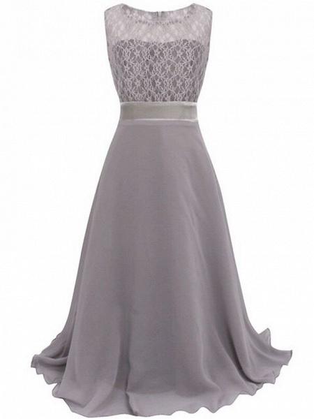 A-Line Floor Length Wedding / Party Flower Girl Dresses - Chiffon / Lace Sleeveless Jewel Neck With Sash / Ribbon_4