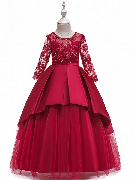 Princess Floor Length Wedding / Party / Pageant Flower Girl Dresses - Lace / Satin / Tulle Long Sleeve Jewel Neck With Lace / Belt / Crystals_15