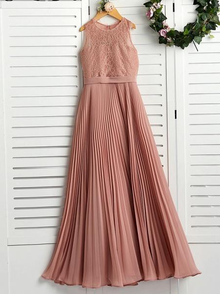 A-Line Crew Neck Maxi Chiffon / Lace Junior Bridesmaid Dress With Lace / Pleats_4