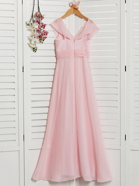 A-Line V Neck Floor Length Chiffon Junior Bridesmaid Dress With Ruffles / Ruching / Wedding Party_2