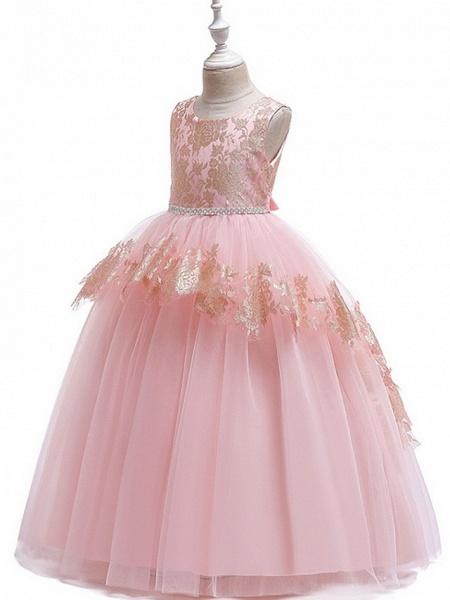 Princess Round Floor Length Cotton Junior Bridesmaid Dress With Bow(S) / Tier / Appliques_5