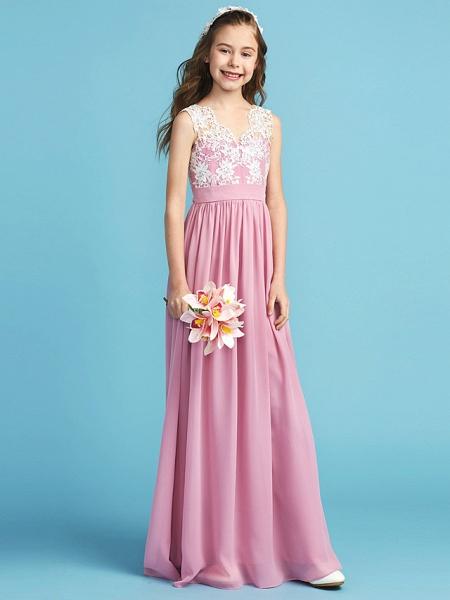 Princess / A-Line Queen Anne Floor Length Chiffon / Lace Junior Bridesmaid Dress With Lace / Sash / Ribbon / Pleats_5