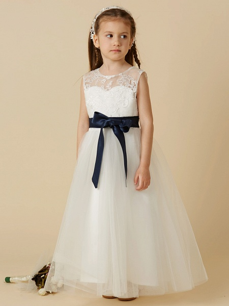 A-Line Ankle Length Wedding / First Communion Flower Girl Dresses - Lace / Tulle Sleeveless Jewel Neck With Sash / Ribbon / Bow(S) / Buttons_4