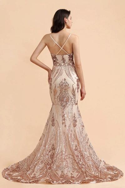 V-neck Sequins Sleeveless Mermaid Floor Length Prom Dresses_2