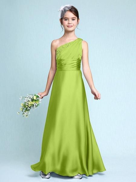 Sheath / Column One Shoulder Floor Length Chiffon Satin Junior Bridesmaid Dress With Ruched / Side Draping / Natural_29