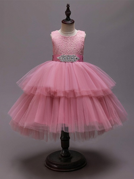 Princess Asymmetrical Wedding / Party / Pageant Flower Girl Dresses - Satin / Tulle Sleeveless Jewel Neck With Belt / Crystals / Rhinestones_5