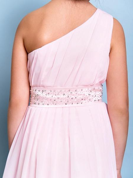 A-Line One Shoulder Floor Length Chiffon Junior Bridesmaid Dress With Sash / Ribbon / Beading / Side Draping / Natural_8