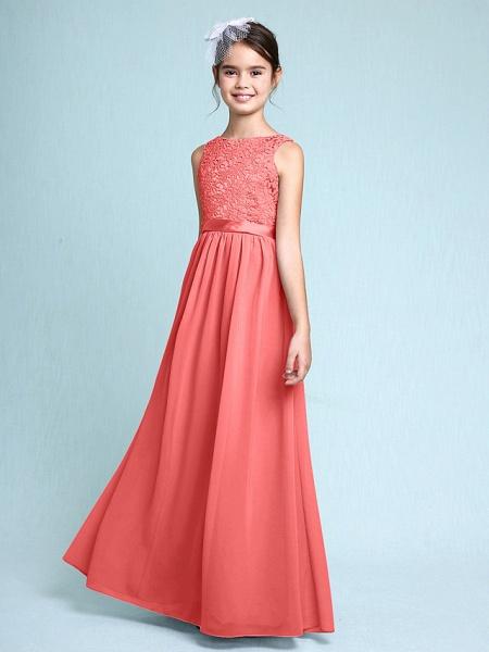 Sheath / Column Bateau Neck Floor Length Chiffon / Lace Junior Bridesmaid Dress With Lace / Natural_14