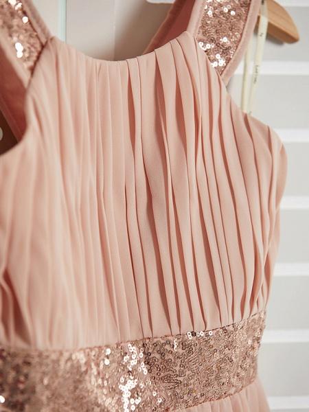 A-Line Jewel Neck Maxi Chiffon Junior Bridesmaid Dress With Lace / Sash / Ribbon_6