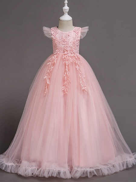 A-Line Floor Length Wedding / Party / Pageant Flower Girl Dresses - Tulle / Polyester Short Sleeve Jewel Neck With Bow(S) / Butterfly_1