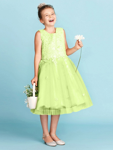 Princess / A-Line Jewel Neck Knee Length Lace / Tulle Junior Bridesmaid Dress With Bow(S) / Appliques / Wedding Party_43