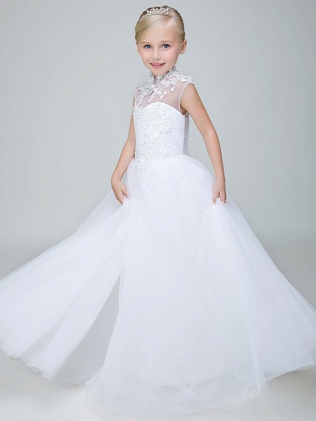 Ball Gown Ankle Length Wedding / First Communion Flower Girl Dresses - Tulle Sleeveless High Neck With Beading / Appliques_5
