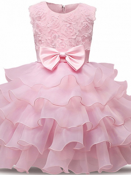 Princess Midi Wedding / First Communion Flower Girl Dresses - Lace / Tulle Sleeveless Jewel Neck With Bows / Belt / Bow(S)_3