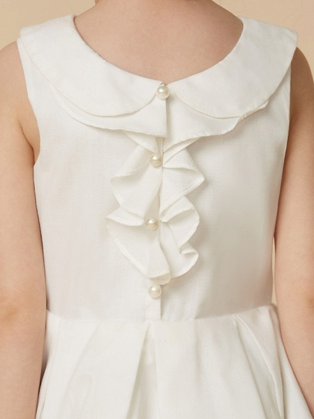 A-Line Knee Length Wedding / First Communion Flower Girl Dresses - Cotton Sleeveless Jewel Neck With Pearls_7