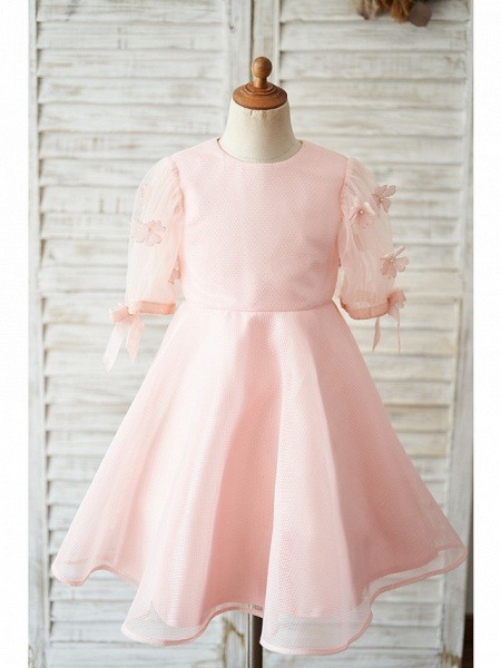 Ball Gown Knee Length Wedding / Birthday Flower Girl Dresses - Tulle Short Sleeve Jewel Neck With Petal / Flower_1
