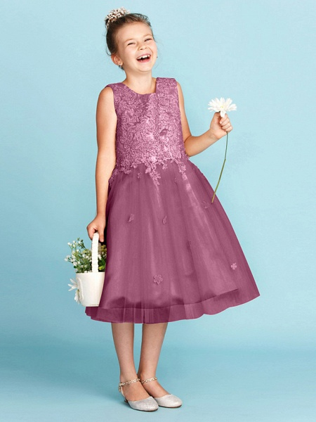 Princess / A-Line Jewel Neck Knee Length Lace / Tulle Junior Bridesmaid Dress With Bow(S) / Appliques / Wedding Party_11