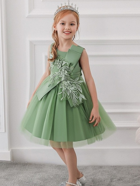 Princess / Ball Gown Knee Length Wedding / Party Flower Girl Dresses - Satin / Tulle Sleeveless Jewel Neck With Bow(S) / Appliques_2