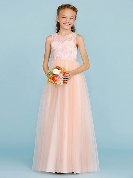 Princess / A-Line Crew Neck Floor Length Lace / Tulle Junior Bridesmaid Dress With Pleats / Wedding Party / See Through_4