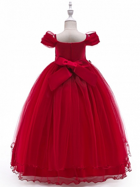 Ball Gown Floor Length Wedding / Party Flower Girl Dresses - Tulle Sleeveless Off Shoulder With Bow(S) / Solid / Tiered_5