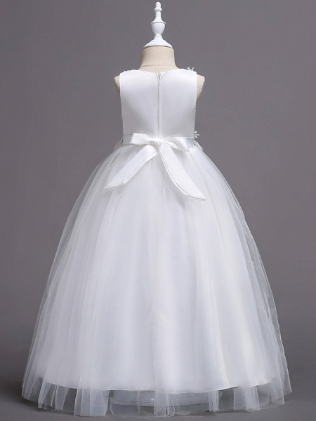 Princess Long Length Wedding / First Communion Flower Girl Dresses - Satin / Tulle Sleeveless Jewel Neck With Belt / Crystals / Appliques_2