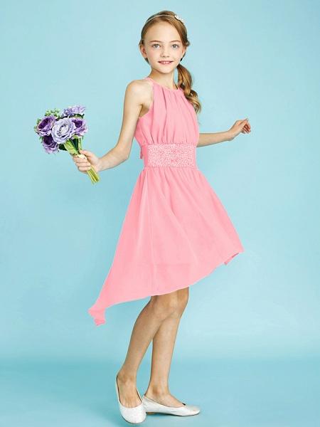 Sheath / Column Jewel Neck Asymmetrical Chiffon Junior Bridesmaid Dress With Sequin / Natural_24