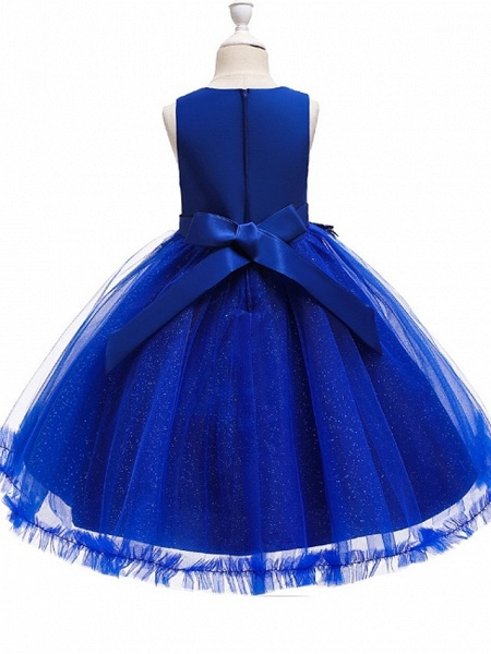Princess / Ball Gown Knee Length Wedding / Party Flower Girl Dresses - Tulle Sleeveless Jewel Neck With Bow(S) / Beading / Appliques_10