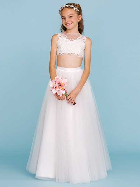 Princess / A-Line Bateau Neck Floor Length Lace / Tulle Junior Bridesmaid Dress With Pearls / Appliques / Beautiful Back / Wedding Party / See Through_3