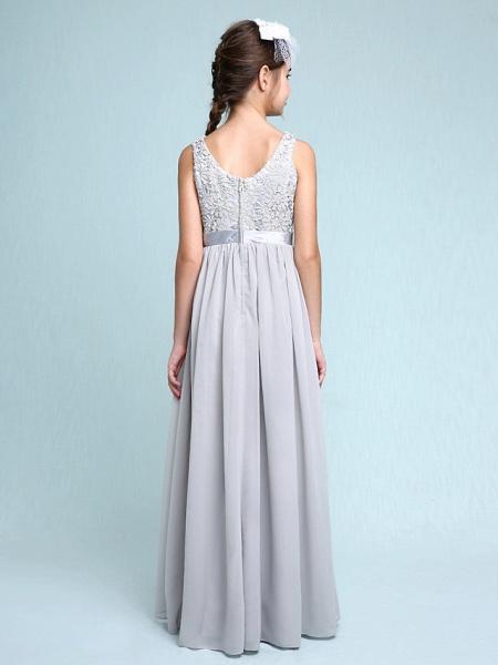 Sheath / Column Bateau Neck Floor Length Chiffon / Lace Junior Bridesmaid Dress With Lace / Natural_2
