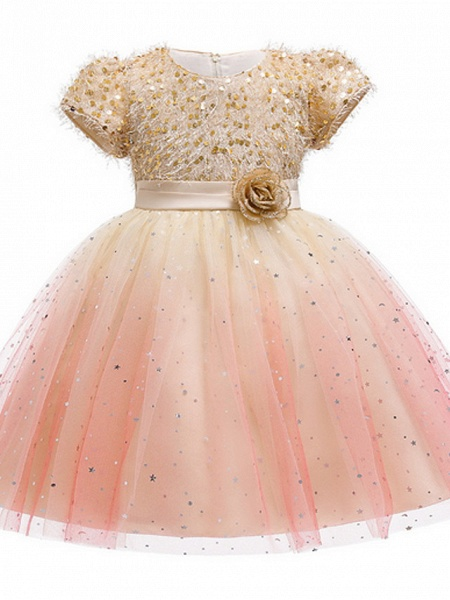 Ball Gown Ankle Length Pageant Flower Girl Dresses - Polyester Short Sleeve Jewel Neck With Beading / Appliques_3