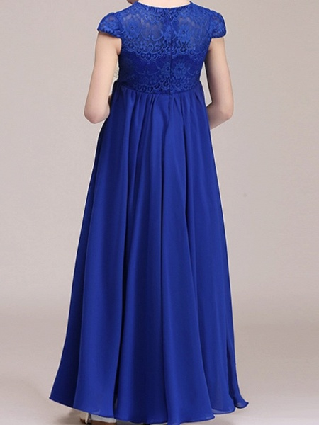A-Line Ankle Length Pageant Flower Girl Dresses - Polyester Cap Sleeve Jewel Neck With Lace_4