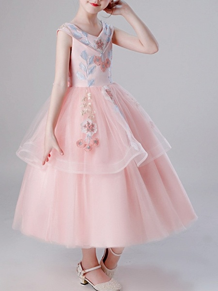 A-Line Ankle Length Pageant Flower Girl Dresses - Tulle Sleeveless V Neck With Bow(S) / Tier / Embroidery_2