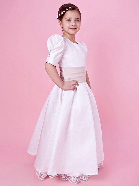Princess / A-Line Floor Length First Communion / Wedding Party Lace / Satin Short Sleeve Jewel Neck With Lace / Sash / Ribbon / Buttons / Spring / Fall / Winter_2