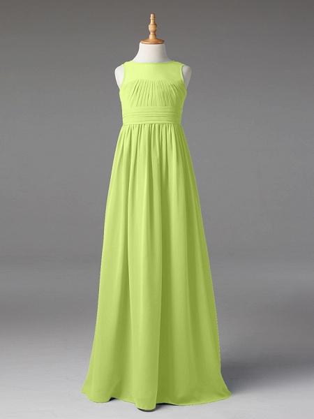 Princess / A-Line Jewel Neck Floor Length Chiffon Junior Bridesmaid Dress With Sash / Ribbon / Pleats_38