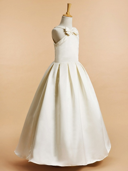A-Line Ankle Length Wedding / First Communion Flower Girl Dresses - Satin Sleeveless V Neck With Bow(S)_2