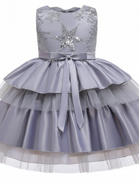 Ball Gown Knee Length Wedding / Party Flower Girl Dresses - Tulle / Mikado Sleeveless Jewel Neck With Bow(S) / Tier / Paillette_6